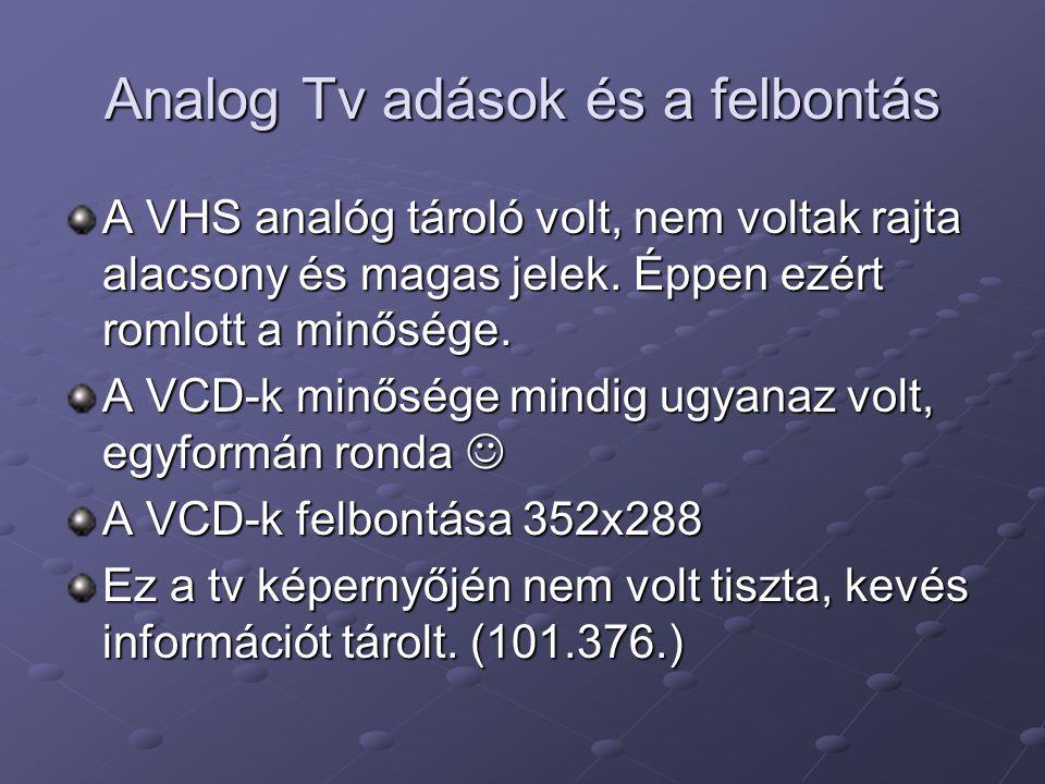 Analog Tv adások és a felbontás A VHS analóg tároló volt, nem voltak rajta alacsony és magas jelek. Éppen ezért romlott a minősége. A VCD-k minősége m