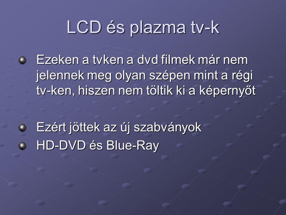 LCD és plazma tv-k Ezeken a tvken a dvd filmek már nem jelennek meg olyan szépen mint a régi tv-ken, hiszen nem töltik ki a képernyőt Ezért jöttek az