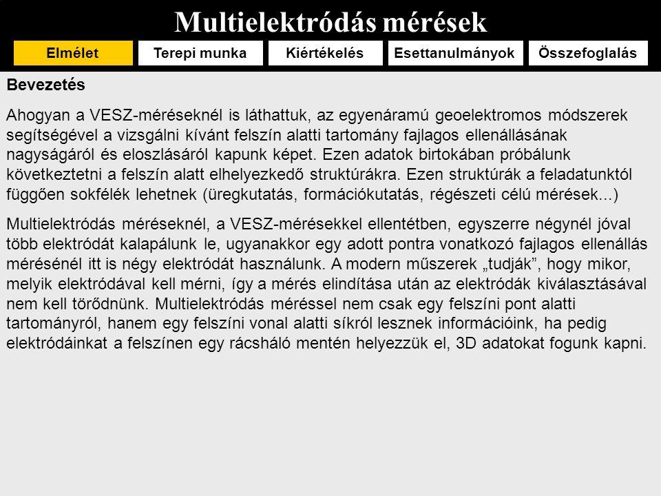 Multielektródás mérések ElméletTerepi munka EsettanulmányokÖsszefoglalásKiértékelés Geológiai alkalmazás 4 (Kelevitz, Dombrádi) Ausztriai Szent Margit bányában vetők keresése.