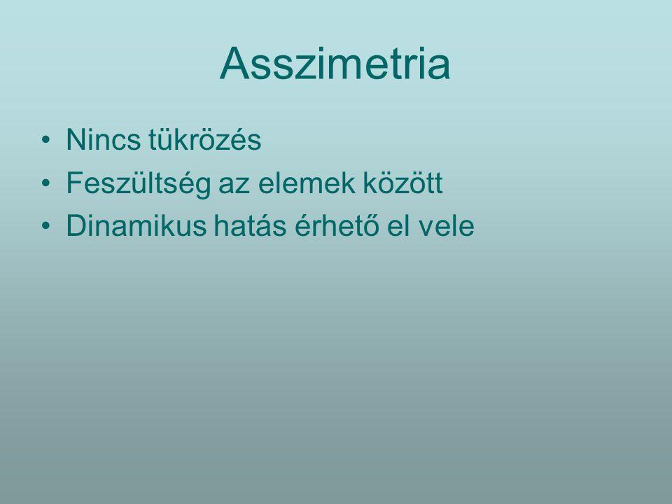 Asszimetria Nincs tükrözés Feszültség az elemek között Dinamikus hatás érhető el vele