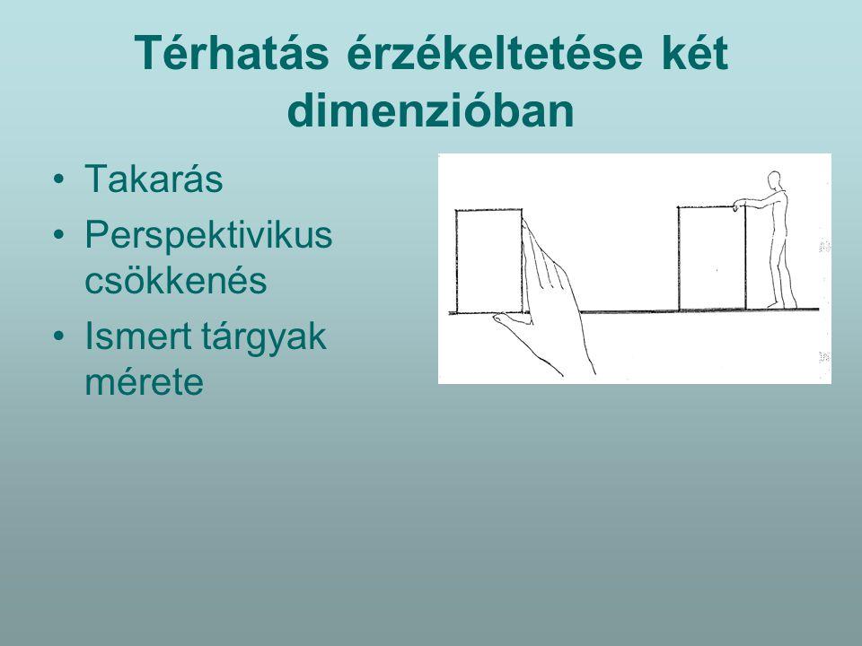 Térhatás érzékeltetése két dimenzióban Takarás Perspektivikus csökkenés Ismert tárgyak mérete Konvergáló egyenesek