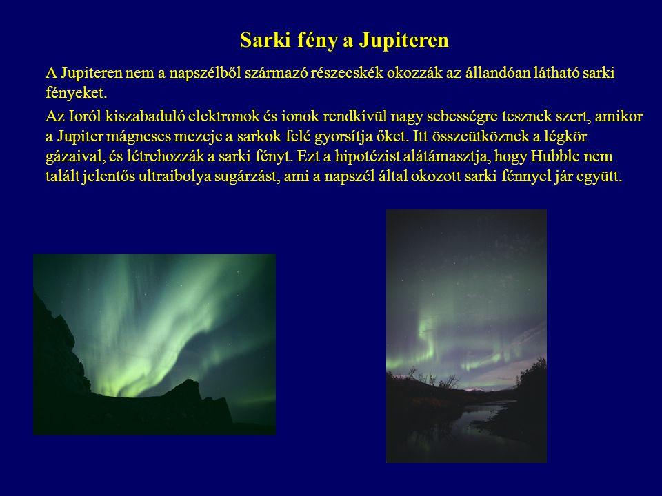 Sarki fény a Jupiteren A Jupiteren nem a napszélből származó részecskék okozzák az állandóan látható sarki fényeket. Az Ioról kiszabaduló elektronok é