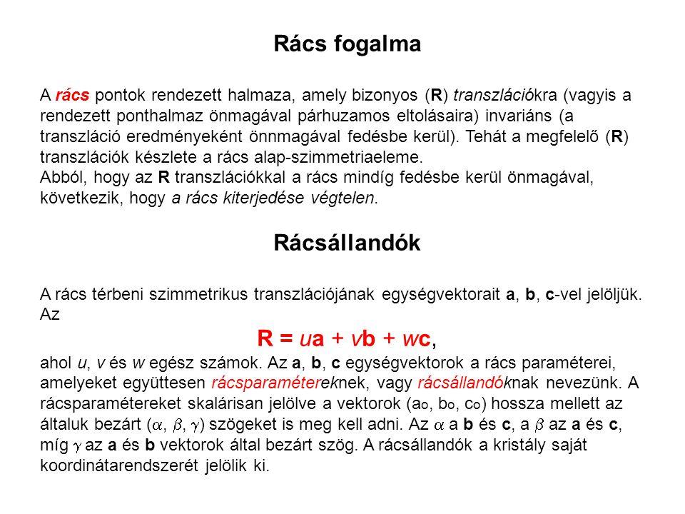 Rács fogalma A rács pontok rendezett halmaza, amely bizonyos (R) transzlációkra (vagyis a rendezett ponthalmaz önmagával párhuzamos eltolásaira) invar