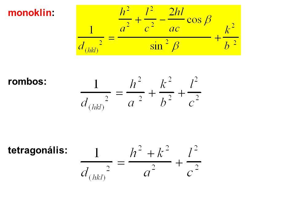monoklin: rombos: tetragonális: