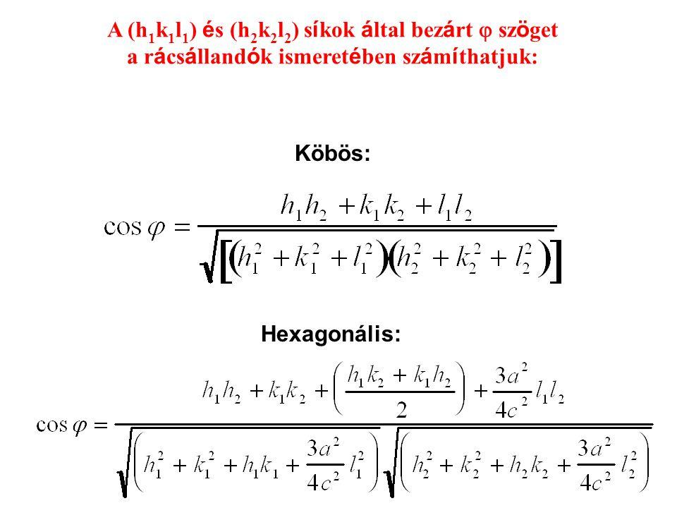 A (h 1 k 1 l 1 ) é s (h 2 k 2 l 2 ) s í kok á ltal bez á rt  sz ö get a r á cs á lland ó k ismeret é ben sz á m í thatjuk: Köbös: Hexagonális:
