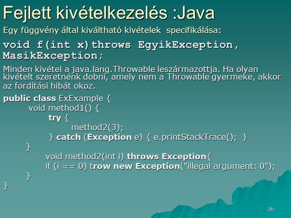 26 Egy függvény által kiváltható kivételek specifikálása: void f(int x)throws EgyikException, MasikException; Minden kivétel a java.lang.Throwable les