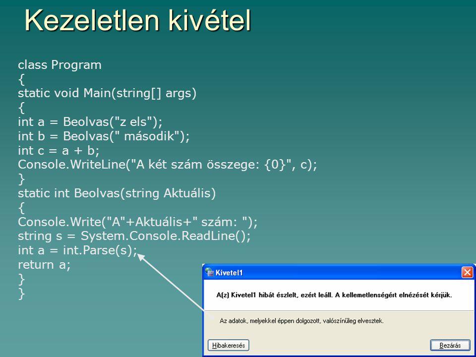 4 Kezeletlen kivétel class Program { static void Main(string[] args) { int a = Beolvas(