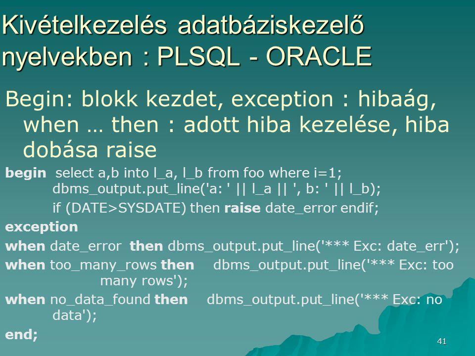 41 Kivételkezelés adatbáziskezelő nyelvekben : PLSQL - ORACLE Begin: blokk kezdet, exception : hibaág, when … then : adott hiba kezelése, hiba dobása