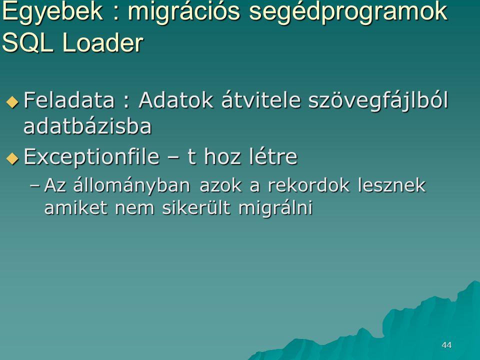 44 Egyebek : migrációs segédprogramok SQL Loader  Feladata : Adatok átvitele szövegfájlból adatbázisba  Exceptionfile – t hoz létre –Az állományban