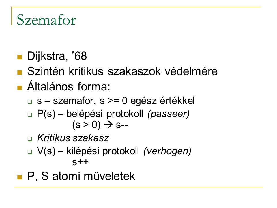 Szemafor Dijkstra, '68 Szintén kritikus szakaszok védelmére Általános forma:  s – szemafor, s >= 0 egész értékkel  P(s) – belépési protokoll (passee