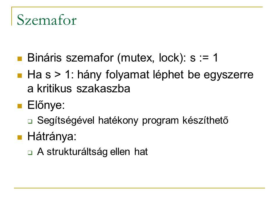 Szemafor Bináris szemafor (mutex, lock): s := 1 Ha s > 1: hány folyamat léphet be egyszerre a kritikus szakaszba Előnye:  Segítségével hatékony progr