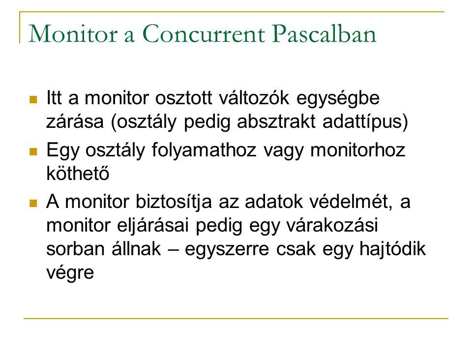 Monitor a Concurrent Pascalban Itt a monitor osztott változók egységbe zárása (osztály pedig absztrakt adattípus) Egy osztály folyamathoz vagy monitor
