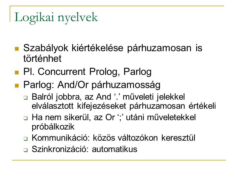 Logikai nyelvek Szabályok kiértékelése párhuzamosan is történhet Pl. Concurrent Prolog, Parlog Parlog: And/Or párhuzamosság  Balról jobbra, az And '.