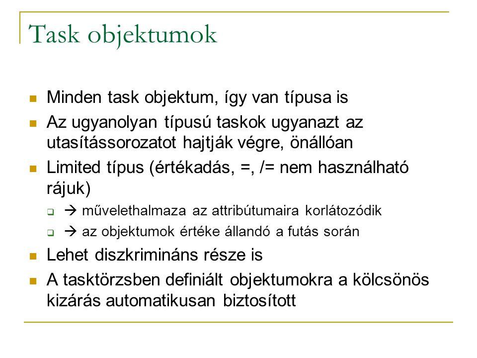 Task objektumok Minden task objektum, így van típusa is Az ugyanolyan típusú taskok ugyanazt az utasítássorozatot hajtják végre, önállóan Limited típu