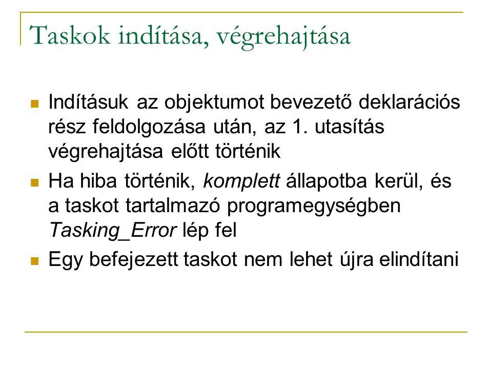 Taskok indítása, végrehajtása Indításuk az objektumot bevezető deklarációs rész feldolgozása után, az 1. utasítás végrehajtása előtt történik Ha hiba