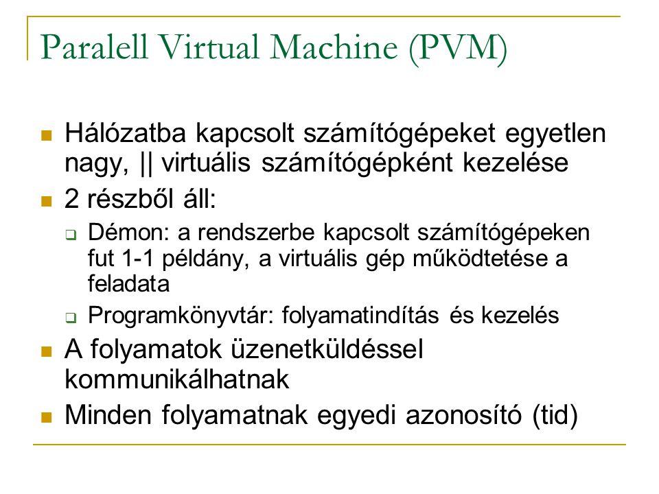 Paralell Virtual Machine (PVM) Hálózatba kapcsolt számítógépeket egyetlen nagy, || virtuális számítógépként kezelése 2 részből áll:  Démon: a rendsze