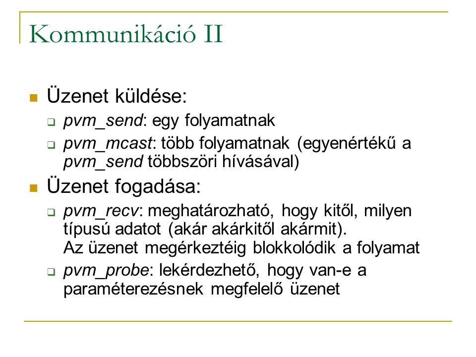 Kommunikáció II Üzenet küldése:  pvm_send: egy folyamatnak  pvm_mcast: több folyamatnak (egyenértékű a pvm_send többszöri hívásával) Üzenet fogadása