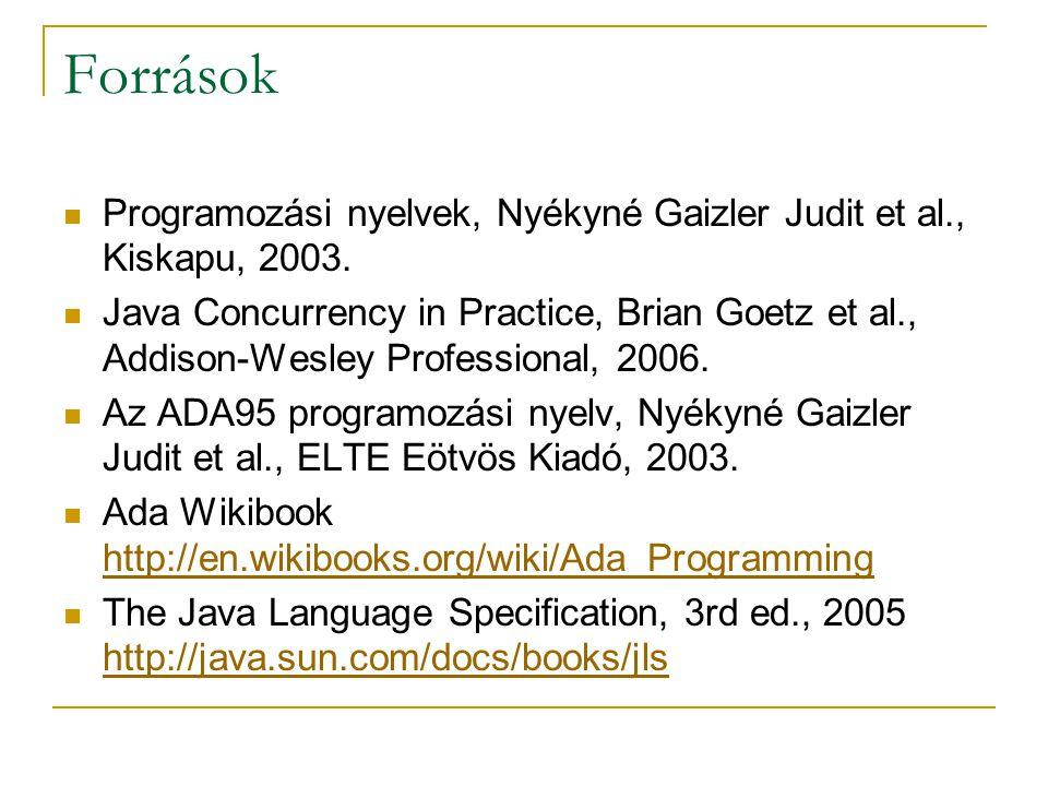 Források Programozási nyelvek, Nyékyné Gaizler Judit et al., Kiskapu, 2003. Java Concurrency in Practice, Brian Goetz et al., Addison-Wesley Professio