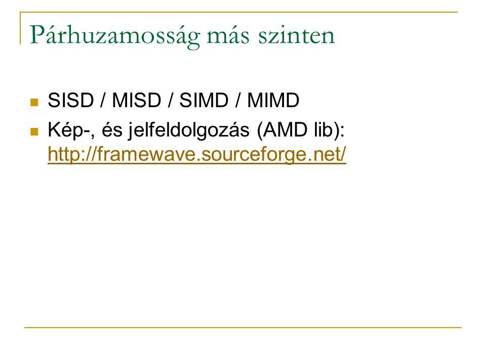 Párhuzamosság más szinten SISD / MISD / SIMD / MIMD Kép-, és jelfeldolgozás (AMD lib): http://framewave.sourceforge.net/ http://framewave.sourceforge.
