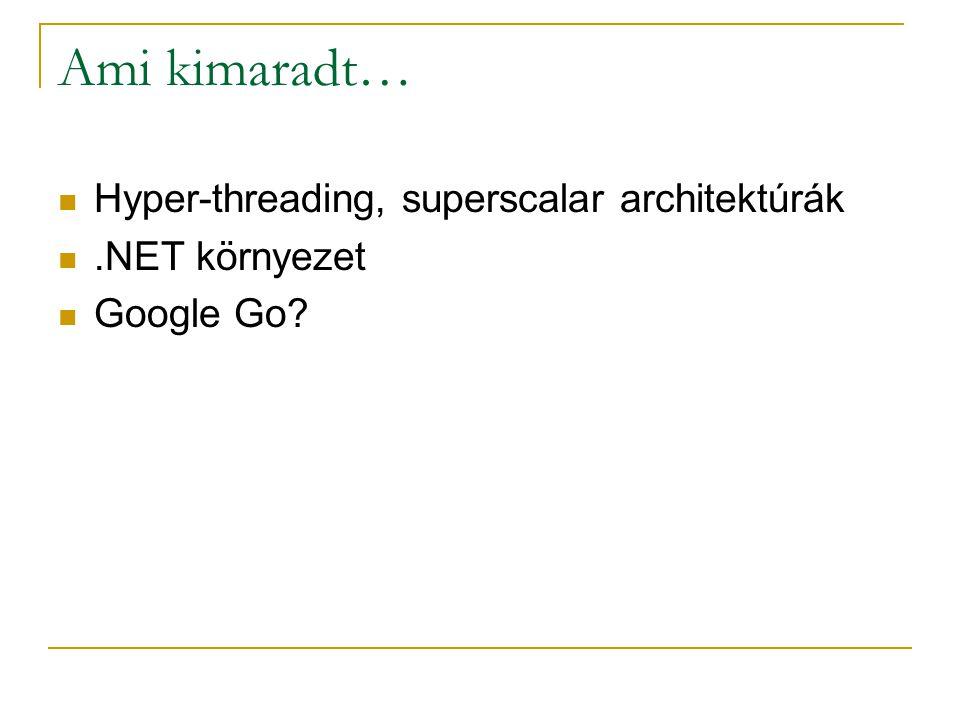 Ami kimaradt… Hyper-threading, superscalar architektúrák.NET környezet Google Go?