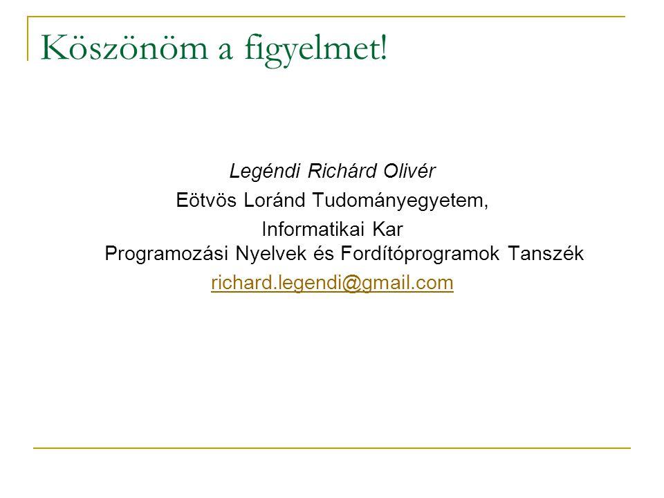 Köszönöm a figyelmet! Legéndi Richárd Olivér Eötvös Loránd Tudományegyetem, Informatikai Kar Programozási Nyelvek és Fordítóprogramok Tanszék richard.