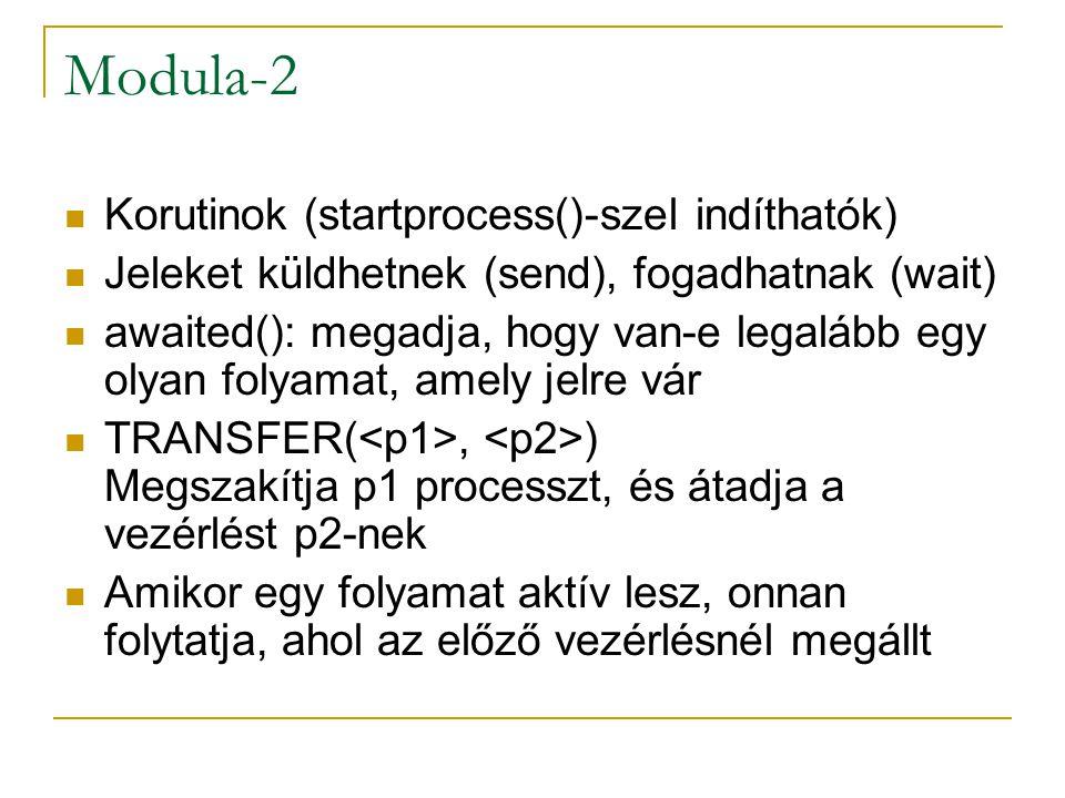 Modula-2 Korutinok (startprocess()-szel indíthatók) Jeleket küldhetnek (send), fogadhatnak (wait) awaited(): megadja, hogy van-e legalább egy olyan fo