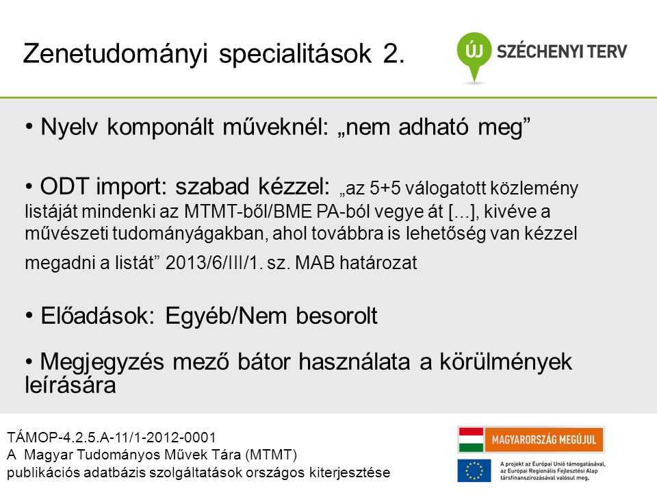 Zenetudományi specialitások 2.