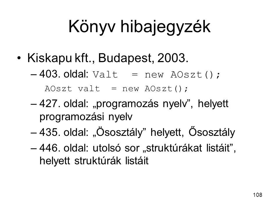 "108 Könyv hibajegyzék Kiskapu kft., Budapest, 2003. –403. oldal: Valt = new AOszt(); AOszt valt = new AOszt(); –427. oldal: ""programozás nyelv"", helye"