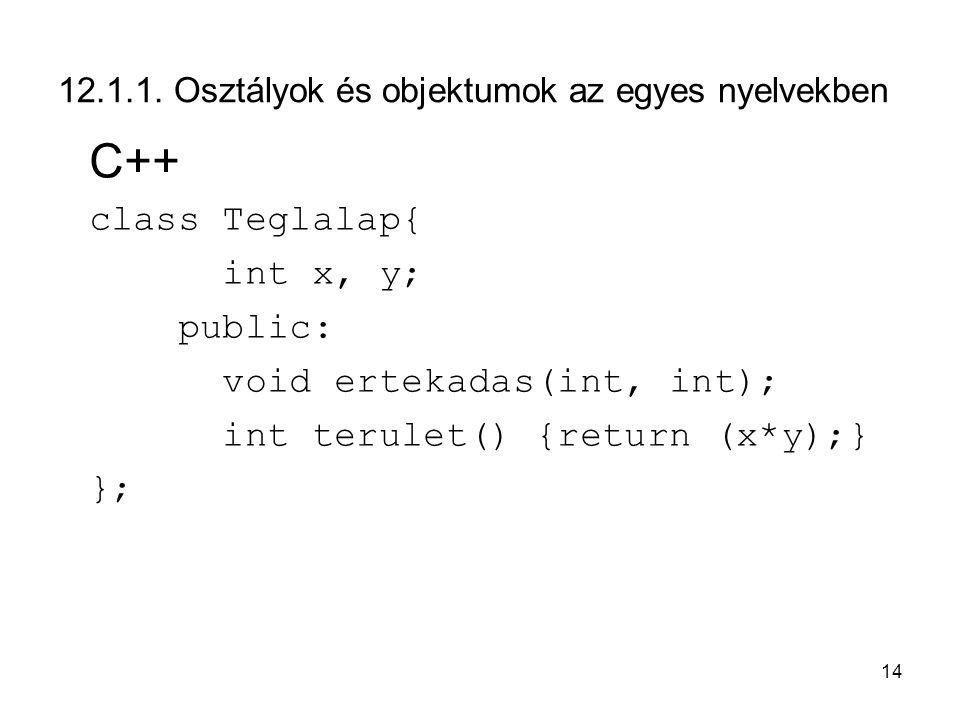 14 12.1.1. Osztályok és objektumok az egyes nyelvekben C++ class Teglalap{ int x, y; public: void ertekadas(int, int); int terulet() {return (x*y);} }