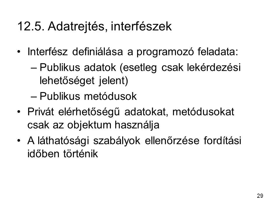 29 12.5. Adatrejtés, interfészek Interfész definiálása a programozó feladata: –Publikus adatok (esetleg csak lekérdezési lehetőséget jelent) –Publikus