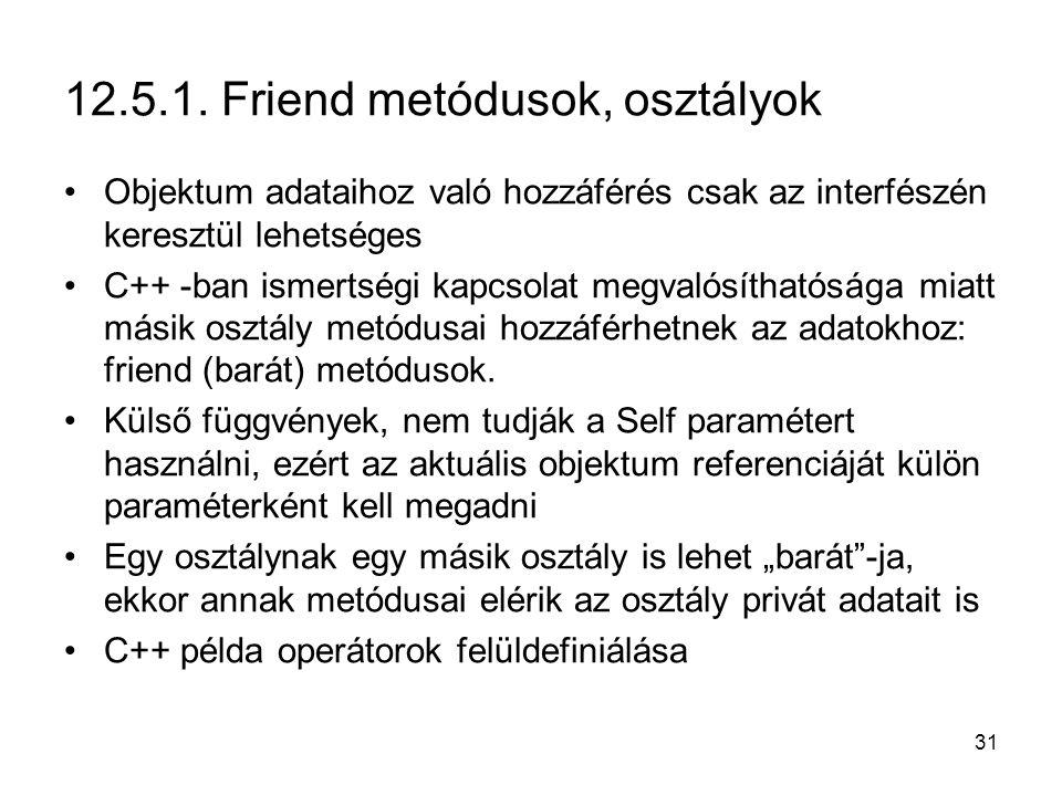31 12.5.1. Friend metódusok, osztályok Objektum adataihoz való hozzáférés csak az interfészén keresztül lehetséges C++ -ban ismertségi kapcsolat megva
