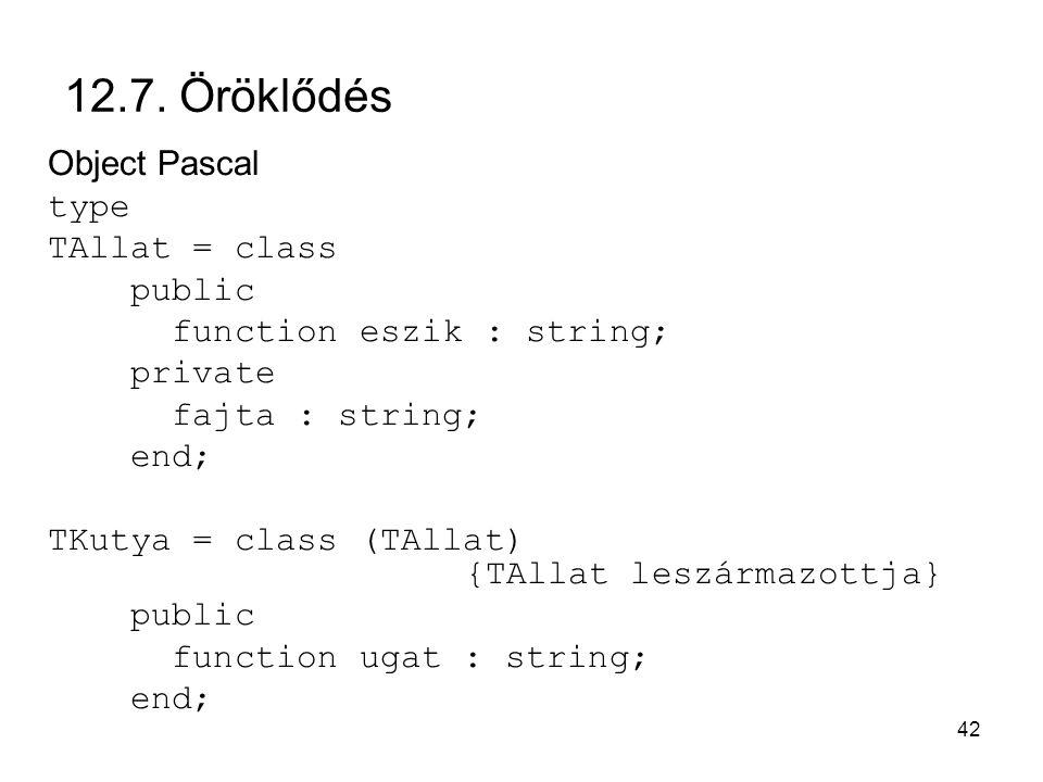 42 12.7. Öröklődés Object Pascal type TAllat = class public function eszik : string; private fajta : string; end; TKutya = class (TAllat) {TAllat lesz