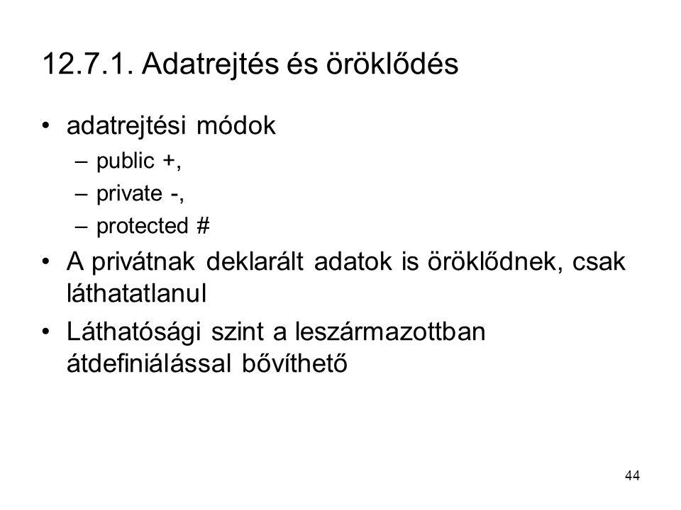 44 12.7.1. Adatrejtés és öröklődés adatrejtési módok –public +, –private -, –protected # A privátnak deklarált adatok is öröklődnek, csak láthatatlanu
