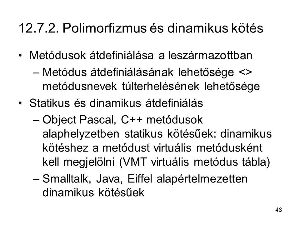 48 12.7.2. Polimorfizmus és dinamikus kötés Metódusok átdefiniálása a leszármazottban –Metódus átdefiniálásának lehetősége <> metódusnevek túlterhelés