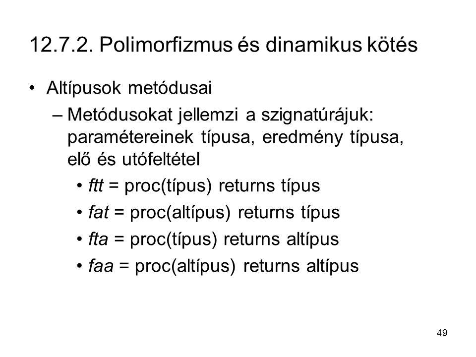 49 12.7.2. Polimorfizmus és dinamikus kötés Altípusok metódusai –Metódusokat jellemzi a szignatúrájuk: paramétereinek típusa, eredmény típusa, elő és