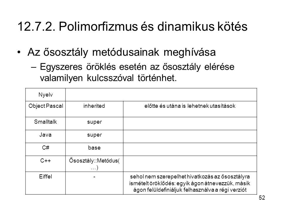 52 12.7.2. Polimorfizmus és dinamikus kötés Az ősosztály metódusainak meghívása –Egyszeres öröklés esetén az ősosztály elérése valamilyen kulcsszóval
