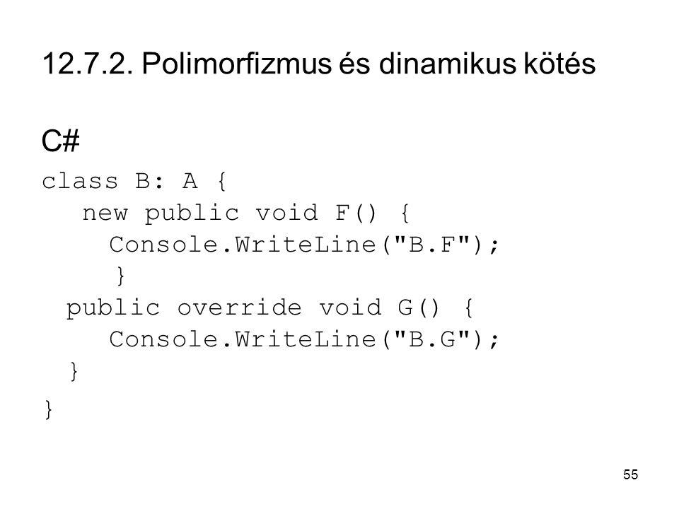 55 12.7.2. Polimorfizmus és dinamikus kötés C# class B: A { new public void F() { Console.WriteLine(