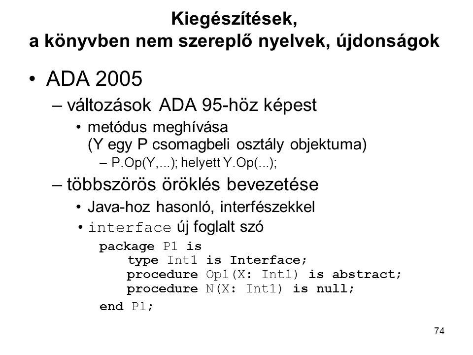 74 Kiegészítések, a könyvben nem szereplő nyelvek, újdonságok ADA 2005 –változások ADA 95-höz képest metódus meghívása (Y egy P csomagbeli osztály obj