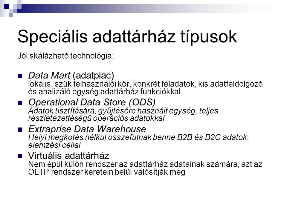 Speciális adattárház típusok Jól skálázható technológia: Data Mart (adatpiac) lokális, szűk felhasználói kör, konkrét feladatok, kis adatfeldolgozó és