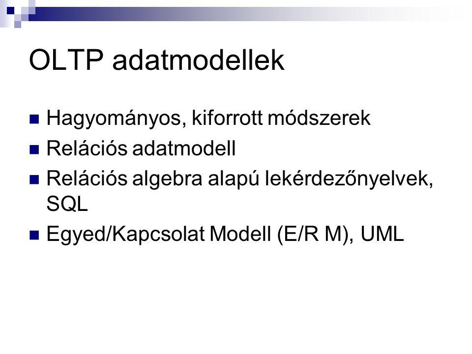 OLTP adatmodellek Hagyományos, kiforrott módszerek Relációs adatmodell Relációs algebra alapú lekérdezőnyelvek, SQL Egyed/Kapcsolat Modell (E/R M), UM