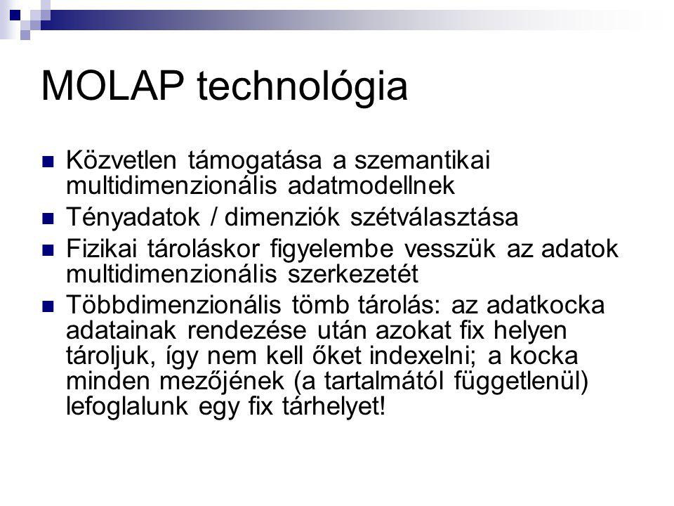 MOLAP technológia Közvetlen támogatása a szemantikai multidimenzionális adatmodellnek Tényadatok / dimenziók szétválasztása Fizikai tároláskor figyele