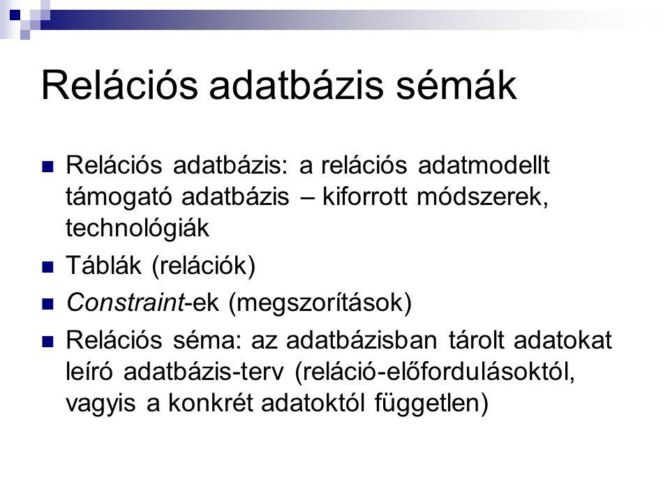 Relációs adatbázis sémák Relációs adatbázis: a relációs adatmodellt támogató adatbázis – kiforrott módszerek, technológiák Táblák (relációk) Constrain
