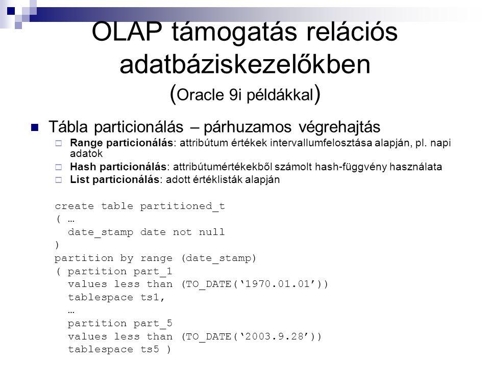 OLAP támogatás relációs adatbáziskezelőkben ( Oracle 9i példákkal ) Tábla particionálás – párhuzamos végrehajtás  Range particionálás: attribútum ért