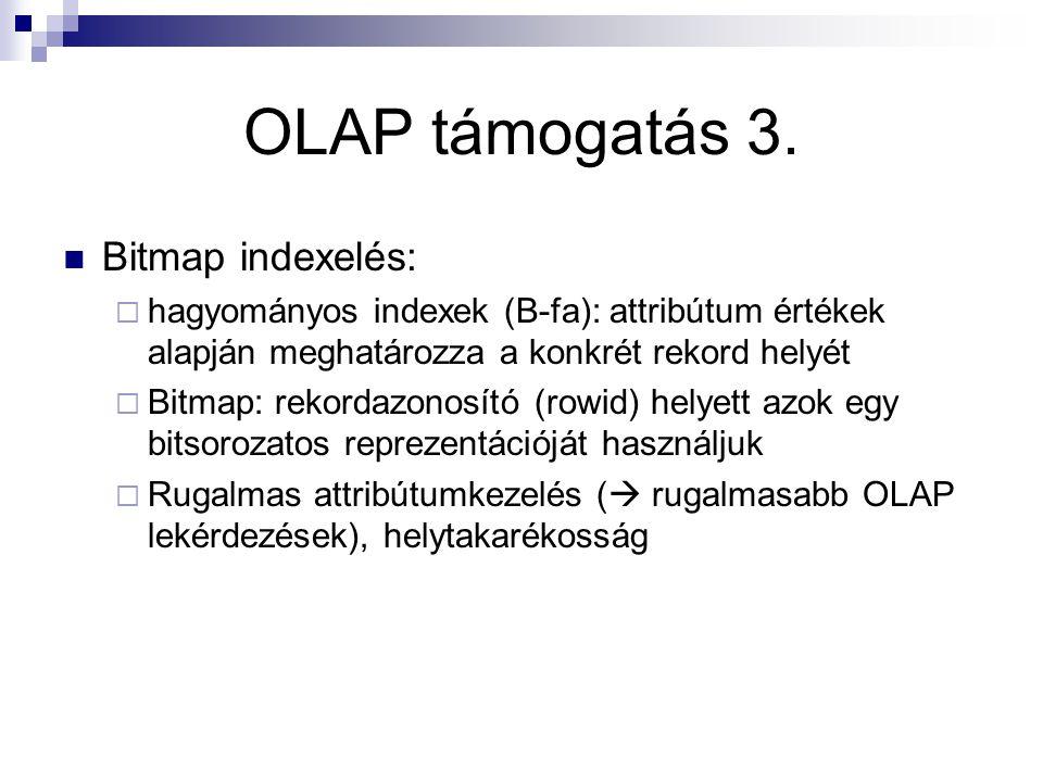 OLAP támogatás 3. Bitmap indexelés:  hagyományos indexek (B-fa): attribútum értékek alapján meghatározza a konkrét rekord helyét  Bitmap: rekordazon