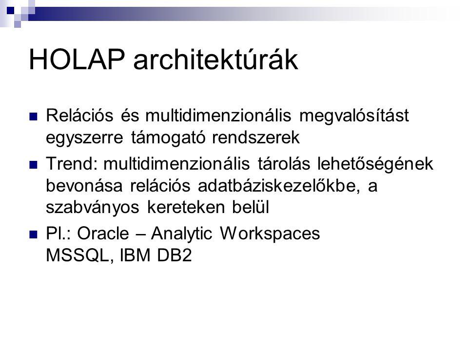 HOLAP architektúrák Relációs és multidimenzionális megvalósítást egyszerre támogató rendszerek Trend: multidimenzionális tárolás lehetőségének bevonás