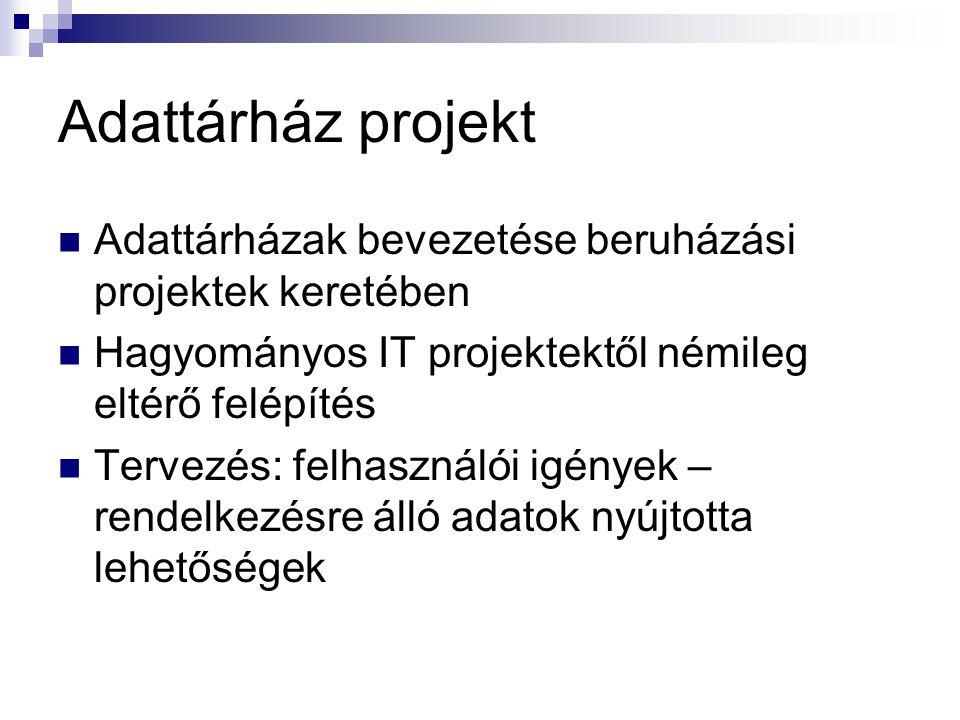 Adattárház projekt Adattárházak bevezetése beruházási projektek keretében Hagyományos IT projektektől némileg eltérő felépítés Tervezés: felhasználói