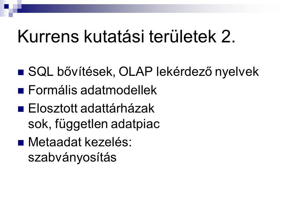 Kurrens kutatási területek 2. SQL bővítések, OLAP lekérdező nyelvek Formális adatmodellek Elosztott adattárházak sok, független adatpiac Metaadat keze
