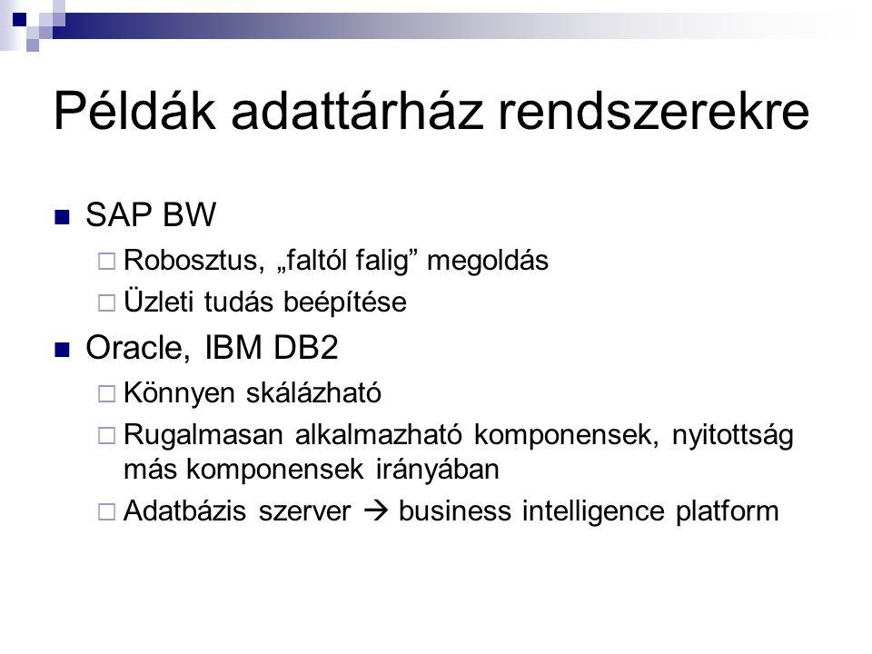"""Példák adattárház rendszerekre SAP BW  Robosztus, """"faltól falig"""" megoldás  Üzleti tudás beépítése Oracle, IBM DB2  Könnyen skálázható  Rugalmasan"""