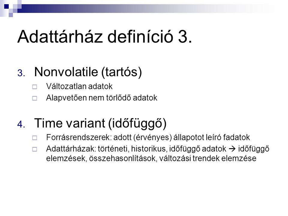 Adattárház definíció 3. 3. Nonvolatile (tartós)  Változatlan adatok  Alapvetően nem törlődő adatok 4. Time variant (időfüggő)  Forrásrendszerek: ad