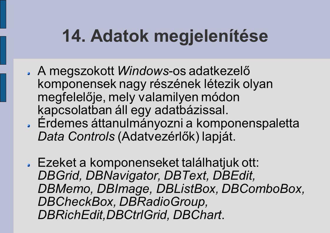 14. Adatok megjelenítése A megszokott Windows-os adatkezelő komponensek nagy részének létezik olyan megfelelője, mely valamilyen módon kapcsolatban ál